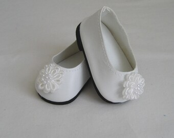 Doll Shoes made to Fit BITTY BABY and Bitty TWINS, White Shoes with White Flower Trim, Shoes Made to Fit Bitty Baby and Bitty Twins Dolls.