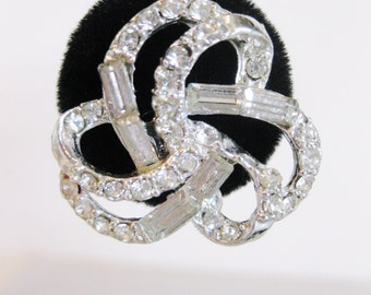 Vintage Ribbon Baguette Love Knot Rhinestone Earrings