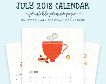 July 2018 Wall Calendar, July Printable, US Letter Calendar, Printable Calendar, Gift for Her, Month Wall Calendar, Tea Lovers, A4 Calendar