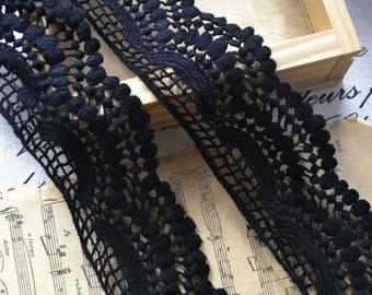 Custom lisfting for Holly Black Cotton Lace Trim Soft Floral Lace Trim 8cm H005