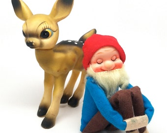Vintage Large Rubber Deer Figurine, Rudolph, Fawn, Knee Hugger Dwarf, Gnome, Elf, Japan, 1950