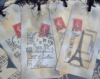 Bon Voyage Large Paris Themed Travel Tags - 4 Ex-Large Tags