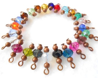 Select Your Color Faceted Rondelle/Copper Dangle Beads