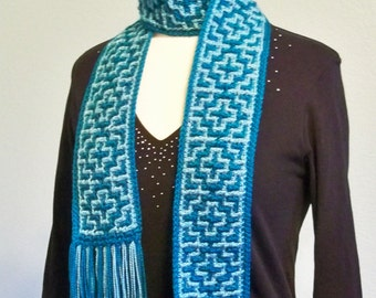 Crochet Scarf Pattern: Crochet Mosaic Scarf, PDF download