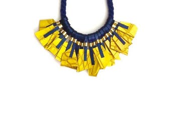 Blue & Yellow Necklace - Leather Necklace - Geometric Necklace - Statement Necklace - Rope - Bib - Nautical - Croco - Yellow