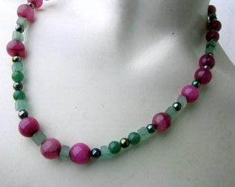 Gemstone Beaded Necklace | Dark Berry Quartz | Green Jade | Green Aventurine | Original Handcrafted