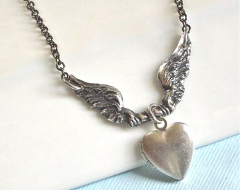Silver Heart Locket Angel Wing Necklace