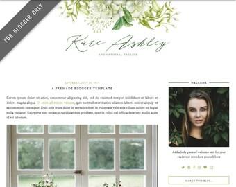 Blogger Template - Mobile Responsive & Dropdown Menu - Watercolor Design Blog - INSTANT DOWNLOAD - Kate Ashley Theme