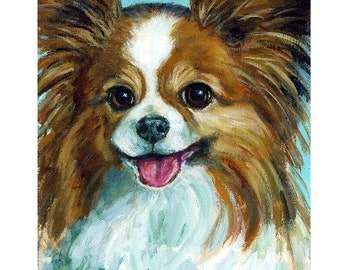 Papillon Dog Art  Print of Original Painting by Dottie Dracos, A  Brown and White Pap