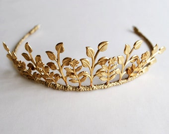 Bridal Tiara with matt gold Leaves and Flowers