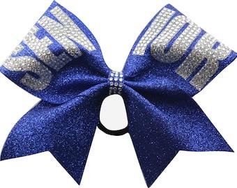 Senior Rhinestone Royal Blue Glitter Cheer Bow