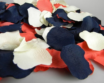 Coral Blue and Ivory Rose Petals   300 Artificial Petals   Coral & Navy Wedding   Blueberry Deep Coral   Flower Petals Tossing Table Scatter