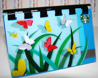 """Spring Butterflies """"2011""""   --  Starbucks Upcycled Gift Card Notebook"""