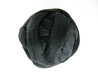 Charcoal Grey Merino Roving - 21.5 Micron - Next to Skin Softness - Vibrant, Rich Colour