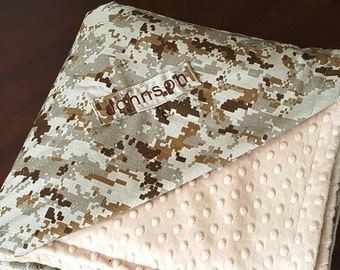 USMC Marine Bedding Blanket with Tan Minky Name Personalized GREAT Gift for Son and Husband - Desert Camo