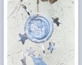Love You to the  Moon Ready to Ship Celestial Stars Wind Chimes