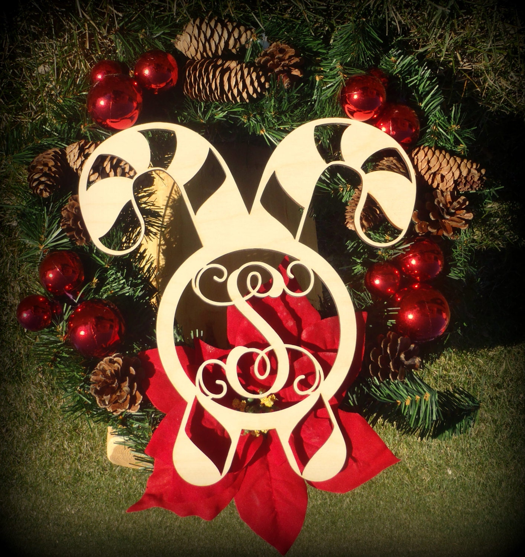 Candy Cane Cutout Monogrammed Door Hanger Christmas