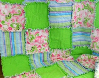 Handmade Leap Frog Rag Quilt Throw - Cotton Flannel Quilted Rag Quilt Throw