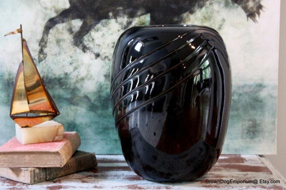 Large Black Hollywood Regency Vase Vintage Black Urn Vase