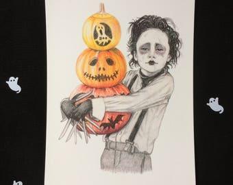 Edward Scissorhands, Postcard Print, A6, Halloween