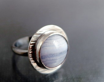 Blue Lace Agate ring, Sterling Silver, hammered, oxidized, blue gemstone