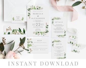 Green Leaves Wedding Invitation Set INSTANT DOWNLOAD, Wedding Invite, DIY Printable Invite, Templett, Editable pdf, Rustic Invites, Loche