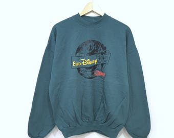 Rare!! MICKEY MOUSE Euro Disney Sweatshirt Pullover Jumper Cartoon Animation Large Size