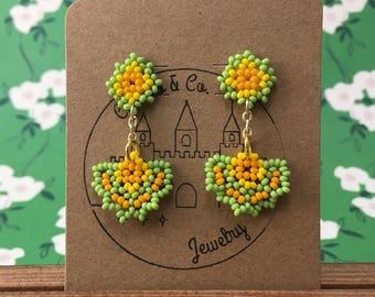 Orange/Yellow/Light Green Inspired Abanico Earrings