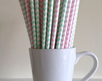 Pink and Mint Green Striped Paper Straws Light Pink and Mint Green Chevron Party Supplies Party Decor Bar Cart Cake Pop Sticks Graduation