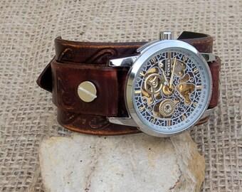 Leather cuff watch, Mens/Womens Skeleton Wrist Watch, Skeleton Mechanical Hand Winding