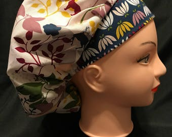 Fall Floral Surgical Womens Scrub Hat Bouffant fits ponytail, Chemo Cap, Surgical Hat, Nurse Cap