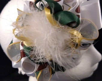 NFL Football Green Bay Packers White Green and Gold Over-The-Top Hair Bow Hairbow