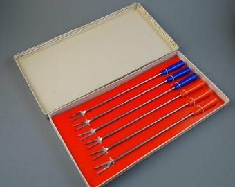 Set of 6 Vintage Old Fondue Forks, Colorful plastic handles, long fondue forks, Germany fondue set, ROSTFREI with Box * New Old Stock***