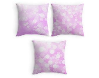 Pink Nursery Throw Pillow, Bokeh Bubbles Scatter Cushion, 16x16, Home Decor, Cushion Cover