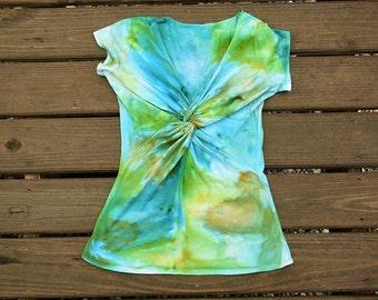 Blue Green Tie Dye Shirt - Twisted Front - Tie Dye Blouse - Watercolor Tie Dye Size Medium