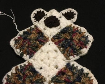 Baby's First Flat Comfort Teddy Bear Multi Browns/Greens& White,Lovey,Bear Lovey,Crochet Flat Bear,Bears,Security Blanket,Crochet Bear Lovey