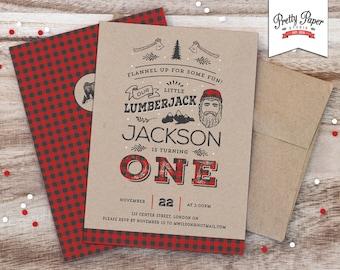 Lumberjack Birthday Party Invitation // Buffalo Plaid Invite // Red and Black Plaid // Black Bear // Rustic 1st Birthday // Printable BP08
