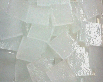 """100 1/4"""" SNOW WHITE CLOUDS Mosaic Glass Tiny Tile Ice Stipple T7"""