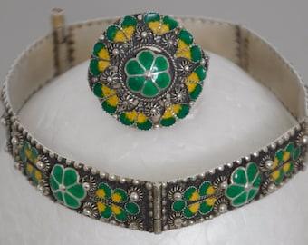 Antique Handmade Enameled Bracelet and Ring Set marked Sterling