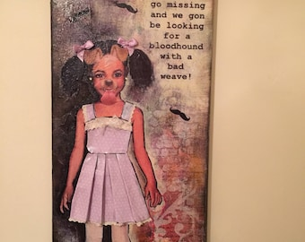 Mixed media collage on canvas 'missing' 20 x 50cm