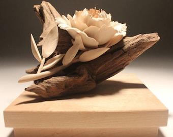 wood flower sculpture etsy