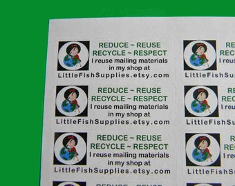 90 PERSONALIZED GO GREEN Labels. 3 Sheets of White 1-Inch Labels. 4992