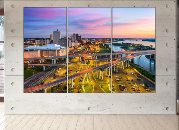 Memphis, Tennessee skyline canvas wall art  Memphis canvas wall art art Memphis wall decoration Memphis large canvas wall art