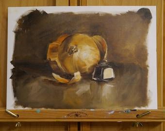 Original Oil Still Life, Onion and Ink Pot A5