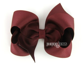 Raisin Hair Bow - 4 Inch Bows - Baby Toddler Girl Hairbows Classic Large Boutique Non Slip Alligator Clips Dark Burgundy