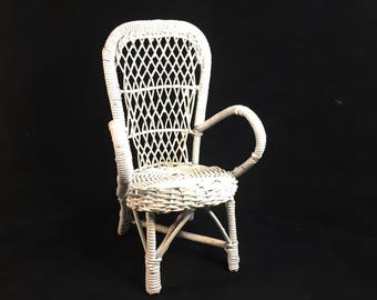 Vintage Doll Wicker Chair, White Wicker Doll Chair