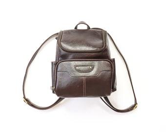Mini Backpack Purse 90s Vegan Coffee Bean Brown Leather 1990s Back Pack Knapsack Shoulder Bag Soft Grunge Minimalist Aesthetic Book Bag