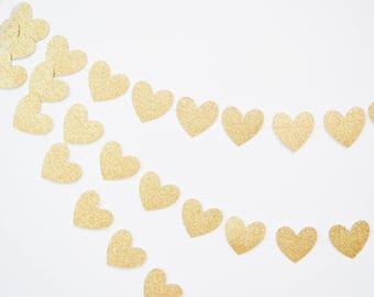 gold heart garland, gold glitter banner, wedding garland, gold wedding decor, bridal shower, gold baby shower, heart bunting, paper heart