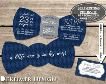 Little Man Baby Shower Invitation, Bow Tie Invitation, Bow Tie, Navy Blue, Gray, Argyle, Self-Editing PDF Invite, BONUS Diaper Tickets