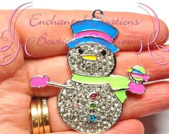 "2"" Pastel Christmas Snowman, Winter Theme Snowman Rhinestone Chunky Pendant, Keychain, Bookmark, Zipper Pull, Chunky Jewelry, Purse Charm"